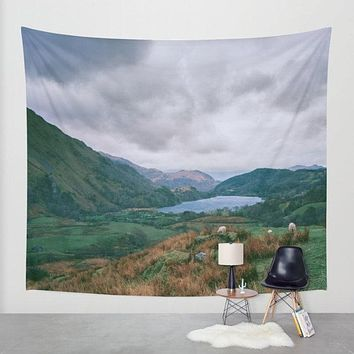 Mountain Valley in Wales Scenic Wall Tapestry
