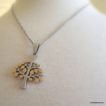 Gold and Stainless Steel Tree of Life Necklace, Stainless Chain, Unisex Necklace, Stainless Pendant