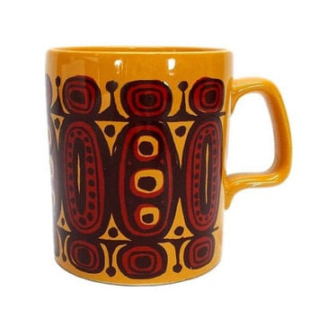 Vintage Coffee Mug Pottery Staffordshire England Abstract 70s Retro Design Orange Brown Tiki Tribal Pattern Groovy Kitchen Bar