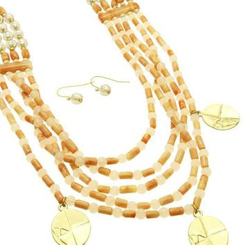 Peach Multi Strand Faceted Lucite Bead Necklace And Earring Set