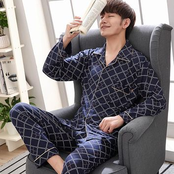 Cotton Autumn Winter Men Causal Printing Pajamas with Plaid Button Long Sleeve Long Pant Turn-down Collar Large Size Pajama Sets