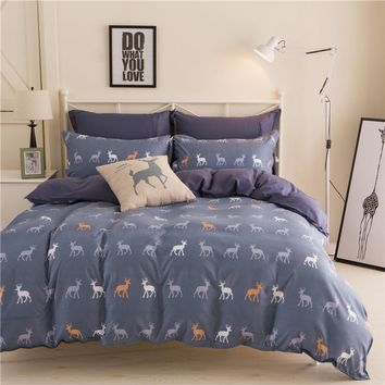 Home textiles Cartoon Plaid Bohemian/Boho colorful deer 3/4pcs bedding sets bed linen include duvet cover bed sheet pillowcase