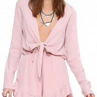 Pink Ruffled Long Sleeve Romper