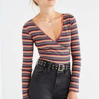 UO Striped Surplice Tee | Urban Outfitters