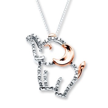 Elephant Necklace 1/20 ct tw Diamonds Sterling Silver/10K Gold