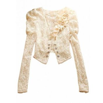 Puff Sleeve Floral Lace Blazer Jacket