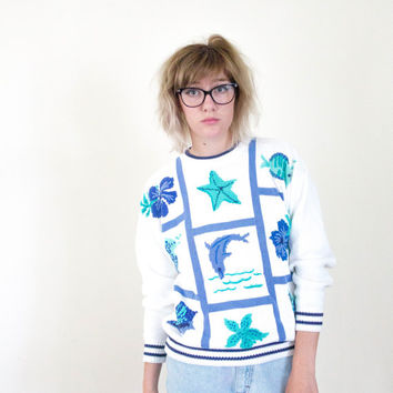 vtg 90s 80s nautical sweater, white blue crochet, dolphin beach ocean, seapunk, 1980s 1990s ironic vtg tumblr, vaporwave, aesthetic fashion