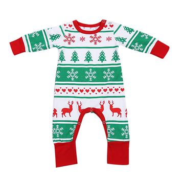 Newborn Unisex Fashion Jumpsuit Baby Boys Girls Snowflake Reindeer Christmas Tree Printed Long Sleeve Romper Clothes