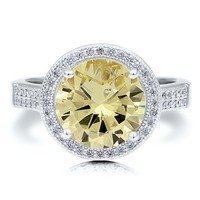 Sterling Silver 925 Round Canary Cubic Zirconia CZ Halo Solitaire Ring #r553