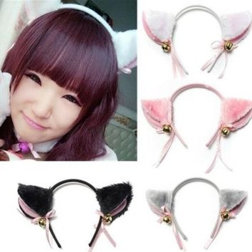 PEAPUG3 Cat Fox Ears Long Fur headband with Bell Bow for Anime Cosplay Party Costume New