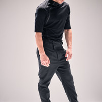 Mens Charcoal Modern Trousers / Dark Grey Wool Pants / Asymmetrical Trousers / Low Crotch Mens Pants by Powha