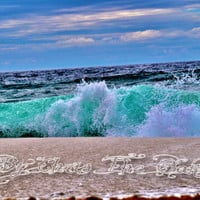 Holidays - Beach Ocean HDR Photo blue water wall art nautical decor seashore abstract  15 X 21
