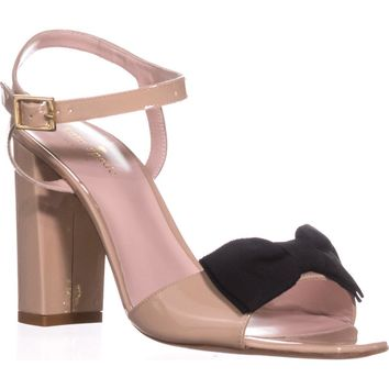 Kate Spade New York Isabel Too Bow Ankle Strap Sandals, Nude Patent, 8 US