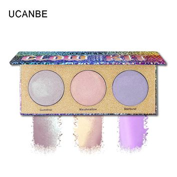 UCANBE Metal Extreme Eyeshadow 3 Shades Glitter Shimmer Brighten Eye Shadow Powder Duo Chrome Light Nude Illuminator Palette Set
