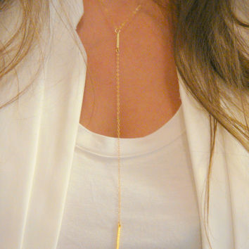 Double Bar Drop Necklace, Simple Bar Lariat Necklace, Layering Necklace, Y Necklace, 14 Kt Gold Filled or Sterling Silver