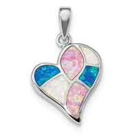 Sterling Silver Pink, Blue and White Rainbow Created Opal Heart Pendant