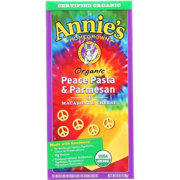 Annie's Homegrown Organic Peace Pasta And Parmesan - 6 oz