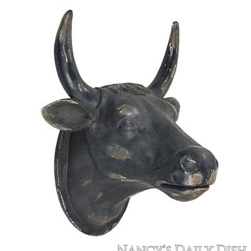 Large French Country Black Distressed Cow / Bull Head Plaque Wall Hanging Figure