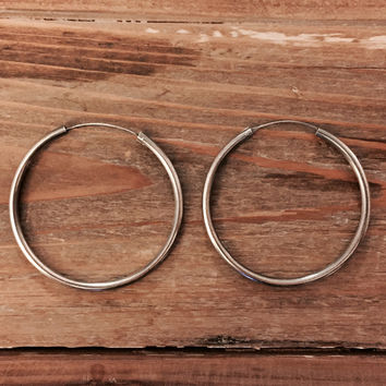 Pure 925 Sterling Silver Modern Unique Dangle Chandler Large Round Circle Hoop Earrings (Anthropologie)