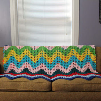 Chevron Afghan - Crochet Blanket One of a Kind Zig Zag Comforter Large