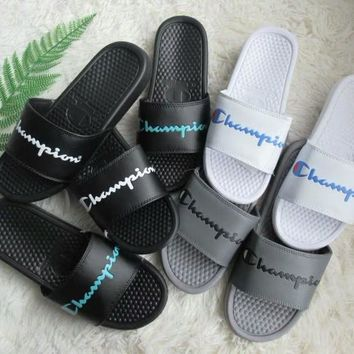 """""""Champion"""" Summer Fashion Letter Slippers Men Home Sandals Flats Shoes"""