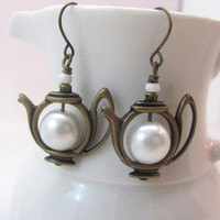 White Pearl Teapot earrings antiqued bronze brass Bridal Wedding Jewellery
