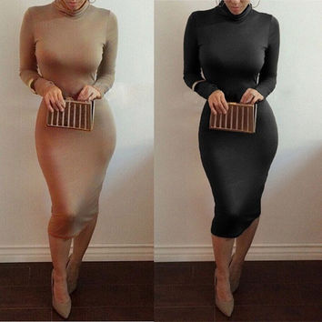 European Long Sleeve Slim Sexy Bodycon Women Winter Dress Casual Work Weak = 1956593156