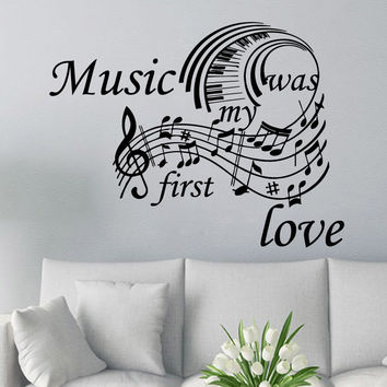 Piano Keyboard Wall Decal Music Quote Music Vinyl Stickers Note Home Decor SM18