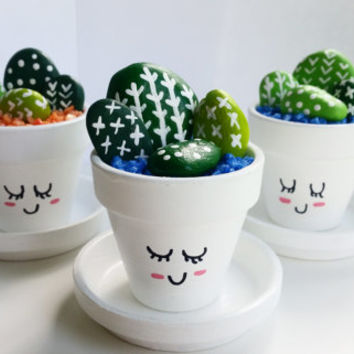 "Mini Hand Painted Cactus Pots - ""Cute Cacti"""