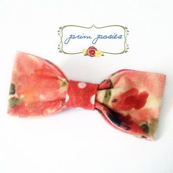 Easter Bow, Girls Bows, Hair Bow, Hair Accessories, Hair Barrette, Gift For Her, Polka Dot Bow, Floral Bow, Vintage Bow, Floral Barrette