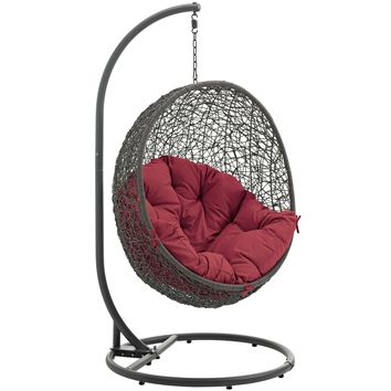 Hide Outdoor Patio Swing Chair With Stand Gray Red EEI-2273-GRY-RED