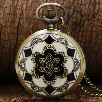 Cindiry Pocket Watch FOB Watches Women Watchs Quartz Clock Retro Style Flip With A Diamond Flower Pocket Flower Necklace Gifts