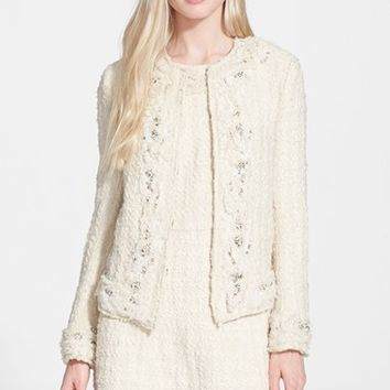 Women's Alice + Olivia 'Nila' Embellished Tweed Jacket,