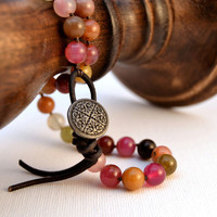 Knotted stack bracelet. Beaded red tone bohemian rustic bracelet