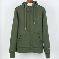 Champion autumn and winter plus velvet warm men and women hooded sweater Green