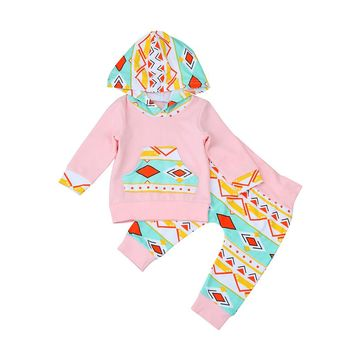 2pcs set girls clothes set Toddler Infant Baby Girl Clothes Set Geometric Hoodie Tops+Pants Outfits drop shipping
