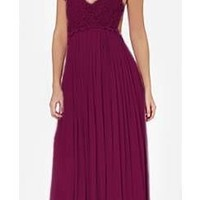 Burgundy Wine Red Plunging V Neck Lace Spaghetti Strap Low Back Maxi Dress