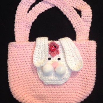 Pink Crochet Bunny Purse