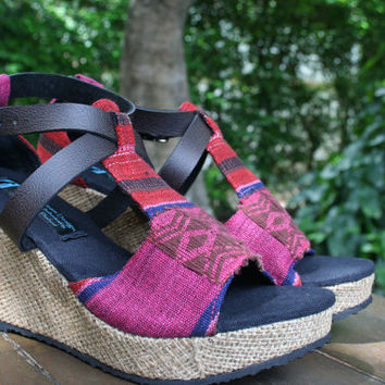 Ethnic Womens Sandals Tribal Naga Textiles, Faux Leather Straps, Wedge Hee, Vegan - Leighanna