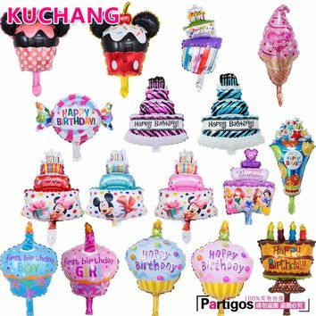 10pcs/lot Mini Mickey Minnie Mouse Foil Balloons Cake Candy Ice Cream Globos Happy Birthday Party Decorations Kids Gift Supplies