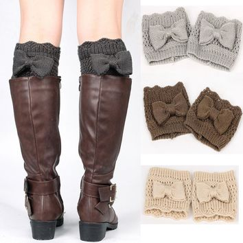 Ladies Knit with Bow Boot Cuffs