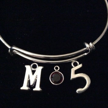 Maroon Crystal M initial and Number 5 Expandable Bracelet Adjustable Wire Bangle Gift Trendy Teenager Stacking