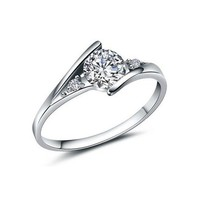 Magicpieces Women's Alloy Over Size AAA High Quality CZ Upper Set on The Slim Smooth Shank Ring DP 0422