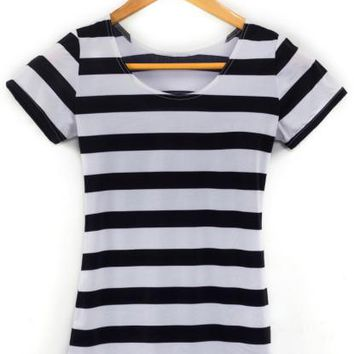 Vertical Zebra Stripe Print women t shirt summer black white horizontal stripe punk top sexy