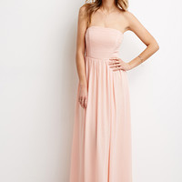 Strapless Chiffon Maxi Dress