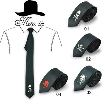 TIE 5cm funny 6 Fashion skull /cross-bone skull/ cross ghost black red tie skulls ties neckties
