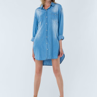 Chambray My Way Collared Shirt Dress