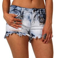 Sale-light Denim Bleached Shorts