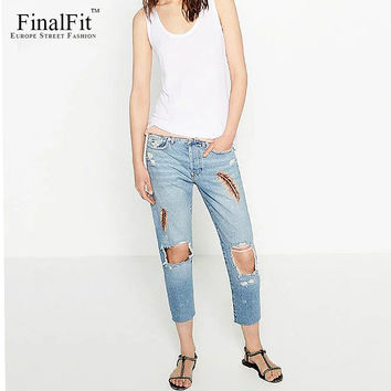 FinalFit Women's Ripped Pencil Jeans, Feather Embroidery