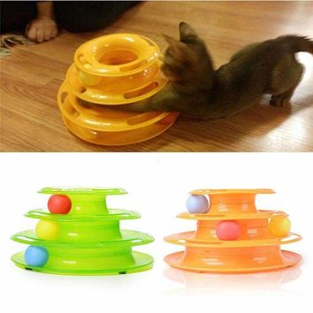 Three Levels Tower Tracks Disc Cat Toy Amusement Shelf Play Station